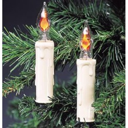 set of 7 white flicker flame candle novelty christmas lights green wire