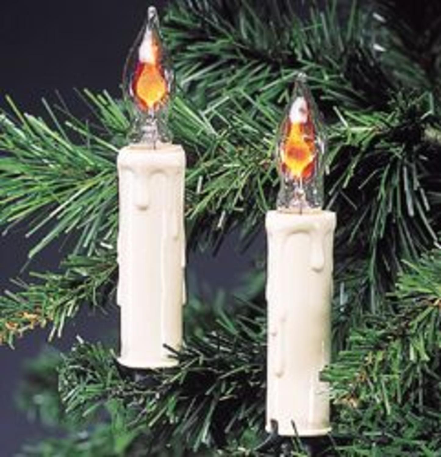 Set of 7 White Flicker Flame Candle Novelty Christmas Lights - Green Wire