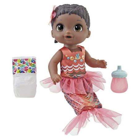 Baby Alive Shimmer 'n Splash Mermaid Baby Doll (Black - Doll Divine Mermaid