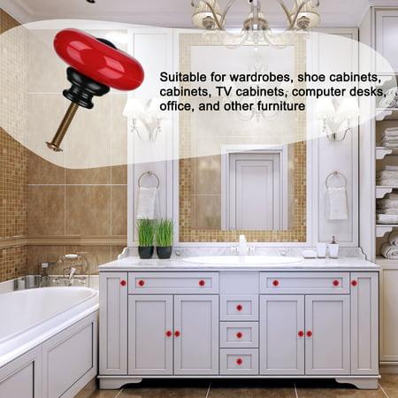 Ceramic Knob Handle Wood Dresser Wardrobe Cabinet Accessory 32mm Dia 4pcs Red - image 2 de 7