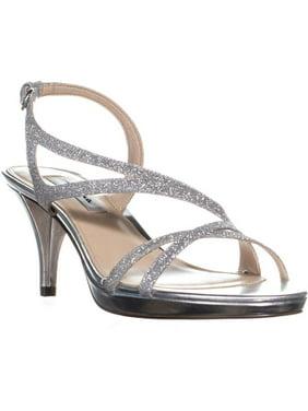 Womens Nina Nura Kitten Heel Slingback Sandals, Silver Vinyl