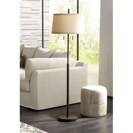 Possini Euro Design Modern Floor Lamp Bronze Slender Column Off White Fabric Tapered Drum Shade for Living Room Bedroom