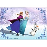 Frozen Anna Elsa Olaf in Snow Edible Cake Topper Frosting 1/4 Sheet Birthday Party