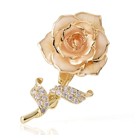 (24K Gold Floral Brooch Pins Flower Brooch Badge Jewelry Gift for Her for Women Brides)