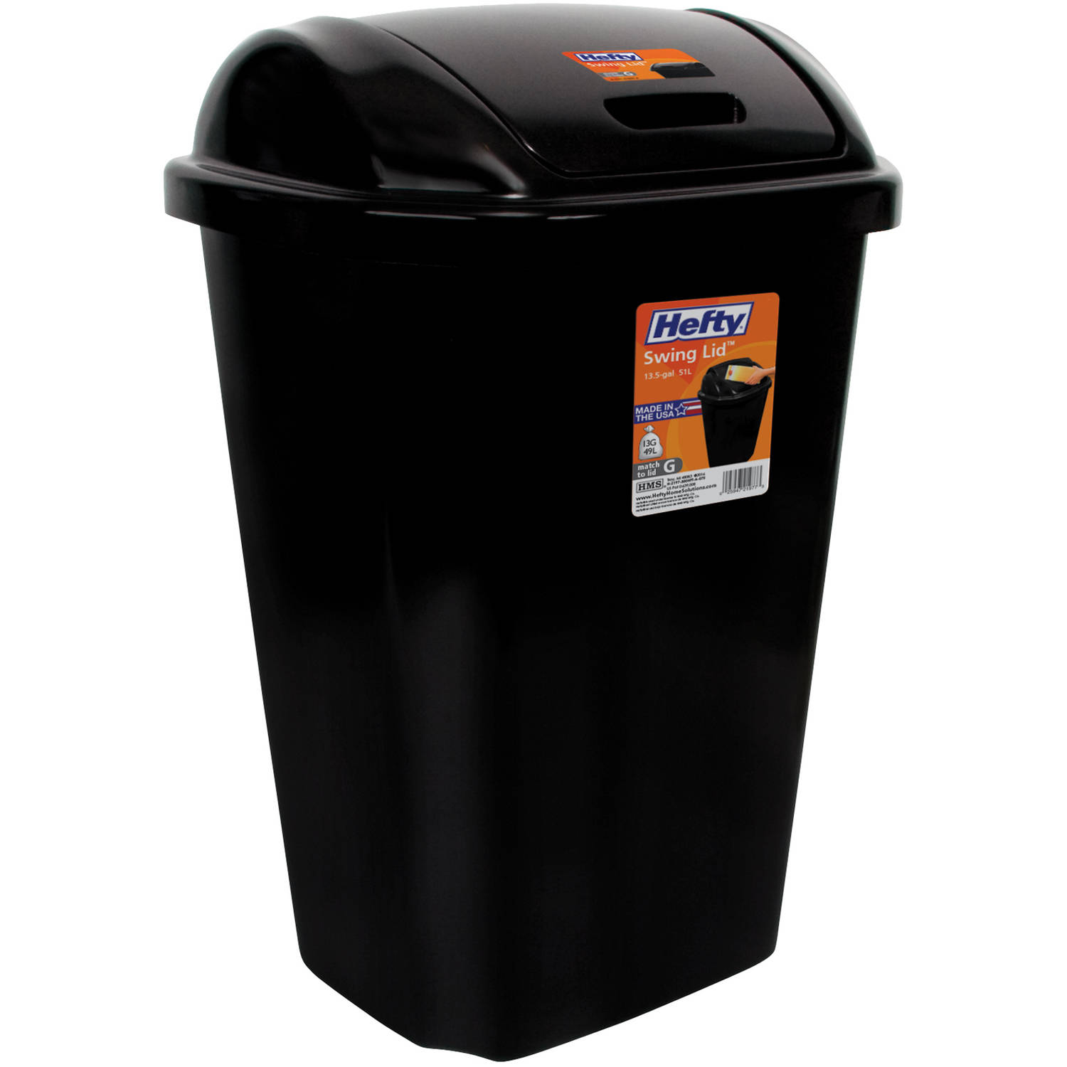 Hefty Swing-Lid 13.5 Gal Trash Can, Black Image 1 of 1