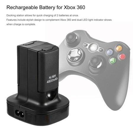 Charging Station Charger Dock+2X 4800mAh Rechargeable Battery for Xbox 360 - image 2 de 10