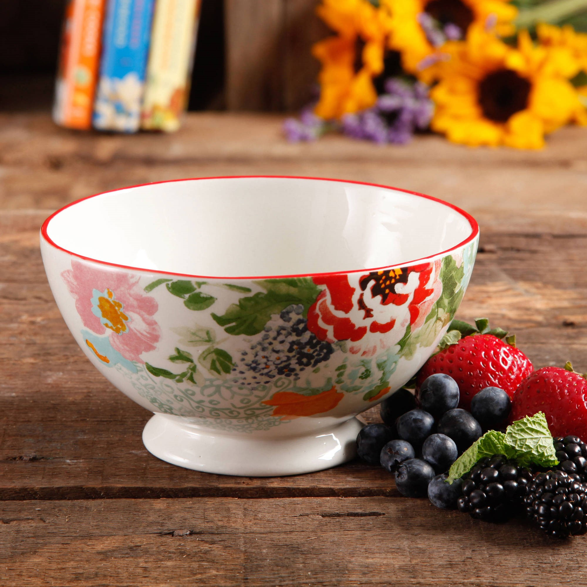 "The Pioneer Woman Flea Market 6"" Decorated Footed Bowls, Country Garden, Set of 4"