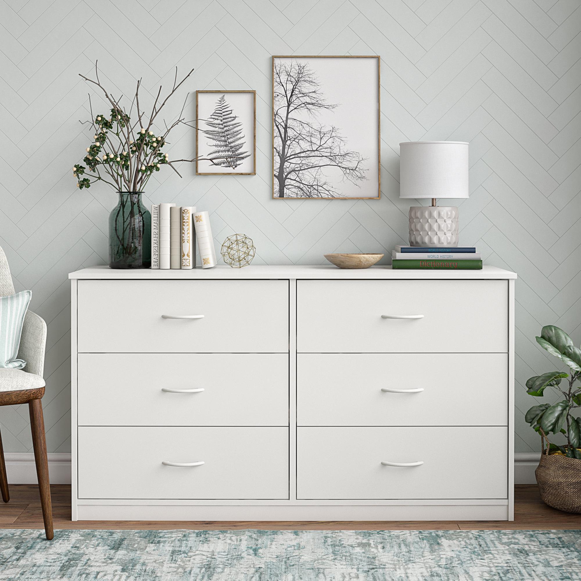 Mainstays Classic 6 Drawer Dresser, White Finish - Walmart.com