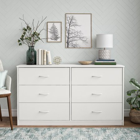 Mainstays Classic 6 Drawer Dresser, White Finish