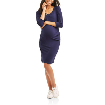 Maternity 34 Sleeve Scoop Neck Dress With Flattering Side Ruching