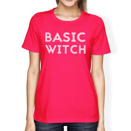 Basic Witch Womens Cute Halloween Costume Tshirt Hot Pink Cotton](Cute Halloween Witch Clip Art)