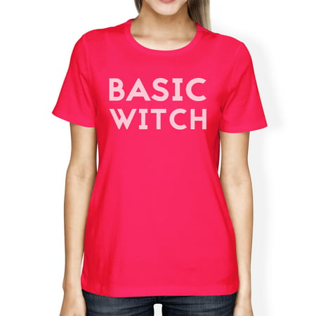 Basic Witch Womens Cute Halloween Costume Tshirt Hot Pink Cotton](Cute Halloween Chibis)
