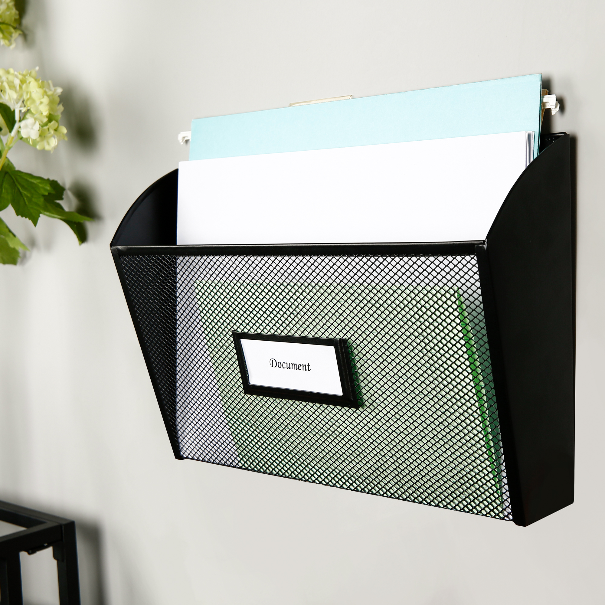 Pen+Gear Mesh File Organizer Black Wall File 1PKT For Office