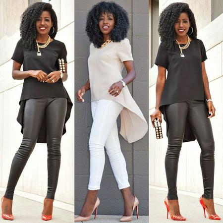 Plus Size Sexy Women Ladies Loose Chiffon Tops Long Sleeve Shirt Casual Blouse (Sexy Top Xxl)