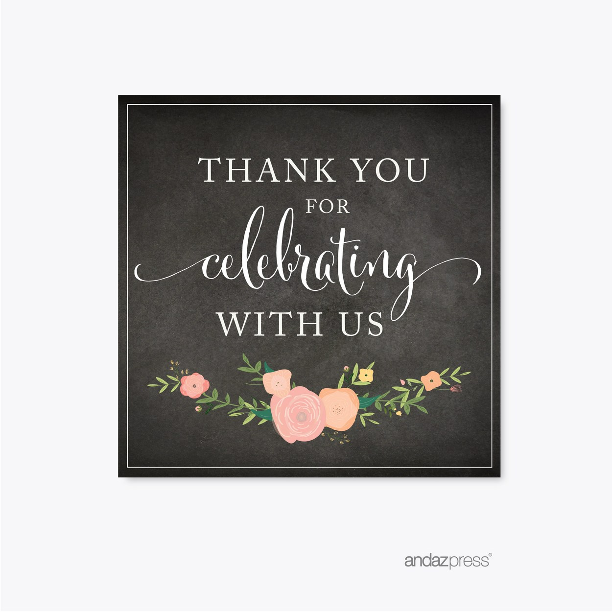 Chalkboard Floral Wedding Square Labels, Thank You for Celebrating With Us, 40-Pack by