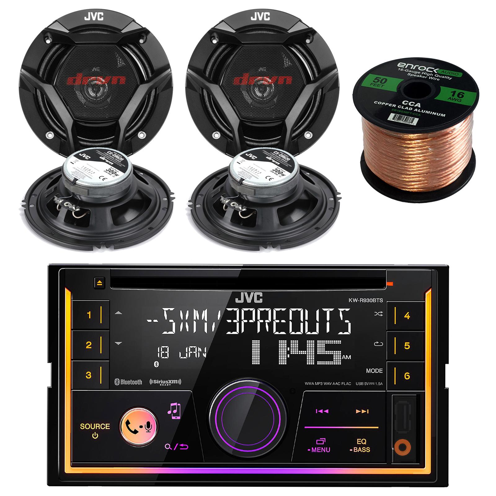 "JVC KWR930BTS Double DIN Bluetooth Car Stereo Receiver Bundle Combo With 4x JVC CS-DR620 6.5"" Inch 300-Watt 2-Way Audio Coaxial Speakers + Enrock 50 Foot 16 Gauge Speaker Wire"