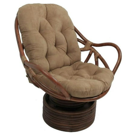 Rattan Swivel Rocker with Micro Suede Cushion, Java ()
