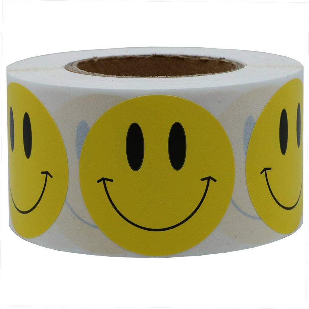 1 inch Smiley Face Stickers Roll Happy Face Stickers