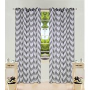 "1 Panel Chevron  Two-Tone Pattern Design Voile Sheer Window Curtain 8 Silver Grommets 55"" Width X 63"" 84 95, 108"" length"