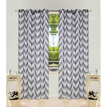 1 Panel Chevron  Two-Tone Pattern Design Voile Sheer Window Curtain 8 Silver Grommets 55
