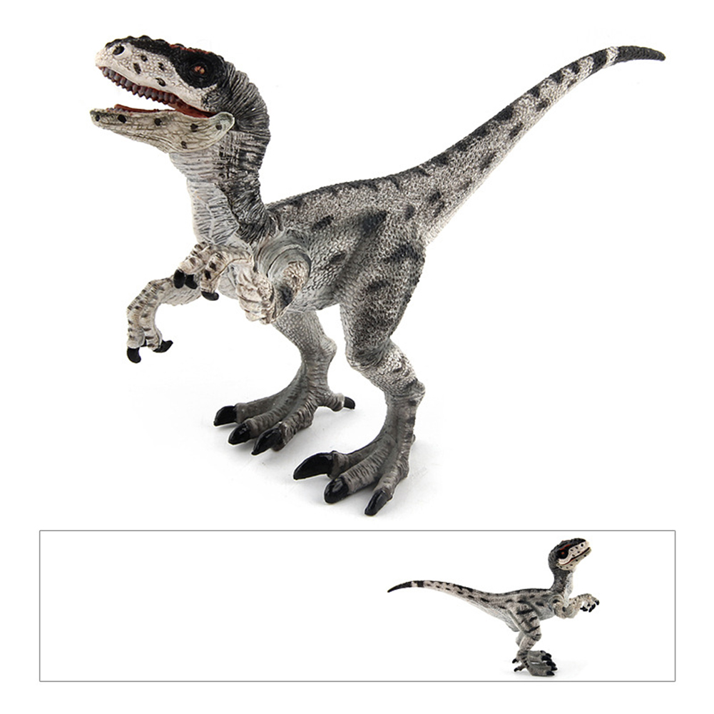 Children Creative Jurassic Dinosaur Action Figure Simulate Jaw Movable Dinosaur Model Learning Educational Play Toy Great Christmas/New Year Gift Style:Velociraptor Gray