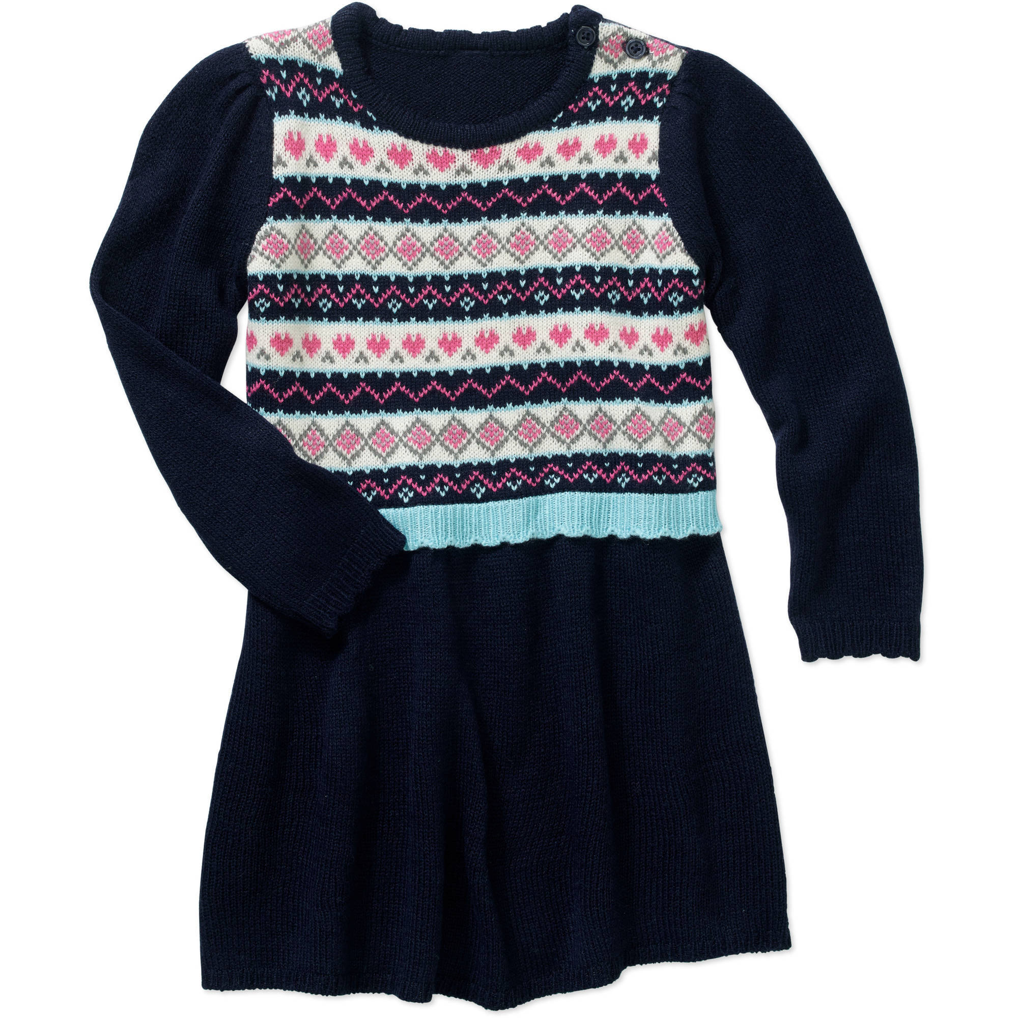 Healthtex Toddler Girls' Blue Drop Waist Sweater Dress