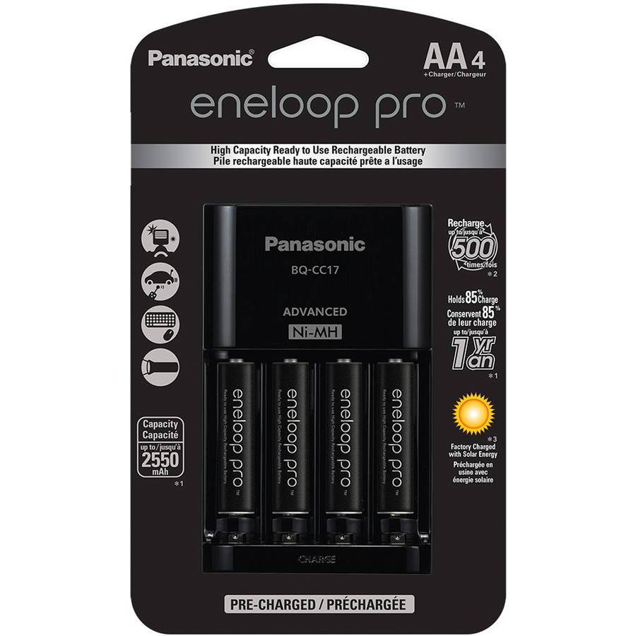Panasonic K-KJ17KHCA4A 4-Position Charger with eneloop AA Batteries, 4pk