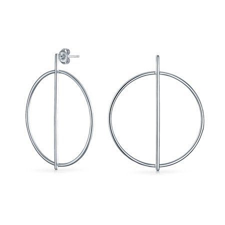 Minimalist Geometric Round Open Thin Circle Drop Stud Hoop Earrings For Women 925 Sterling Silver 1.75 Inch Dia