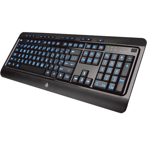 Azio KB505U Large Print Tri-Color Illuminated Keyboard