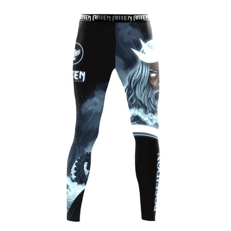 Raven Fightwear Men's The Gods of Greece Poseidon MMA BJJ Spats Black - Greek God Clothing