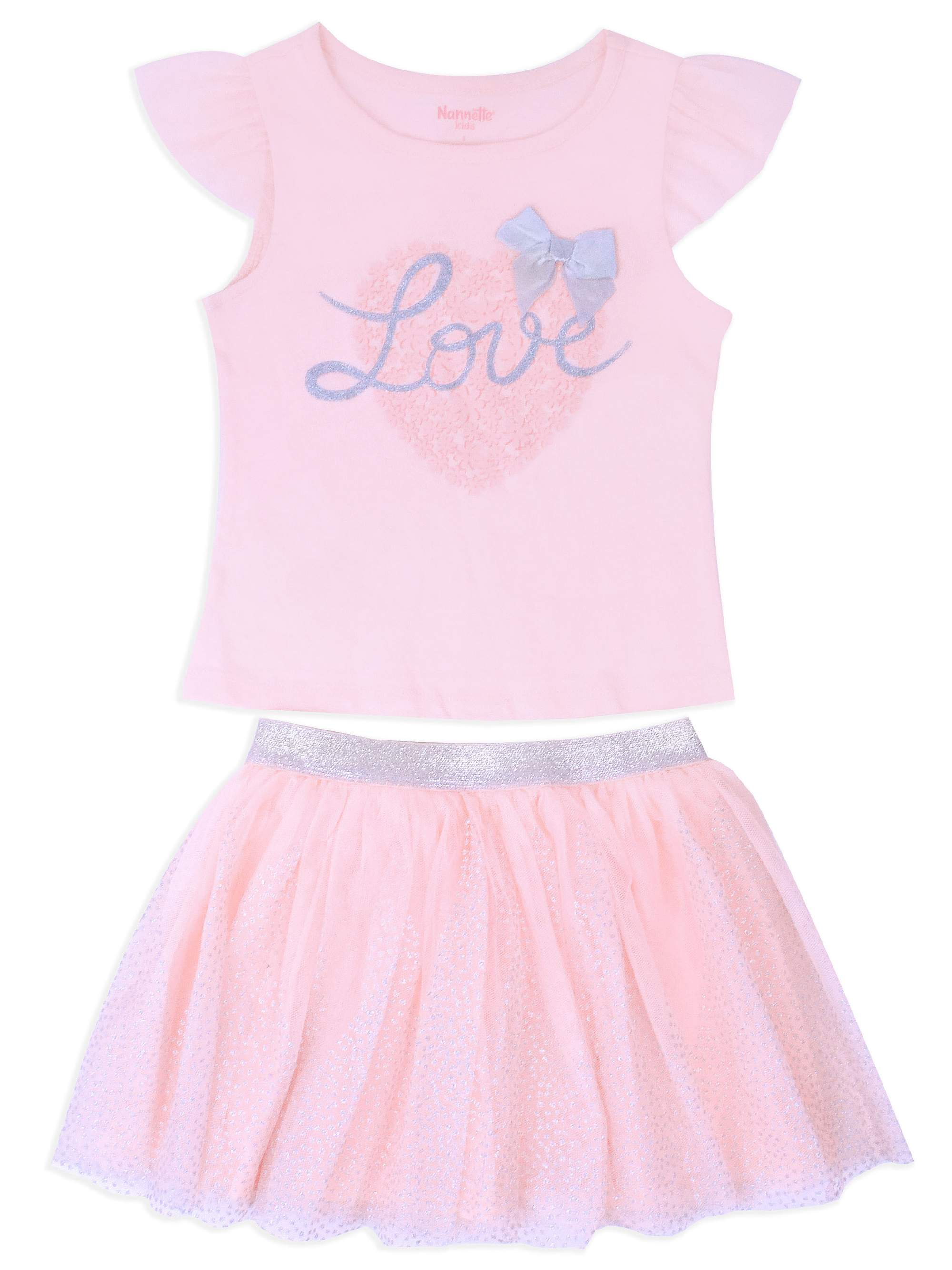 "Little Girls' 4-6X ""Love"" Lace Sleeve Top and Tulle Skirt 2-Piece Outfit Set"