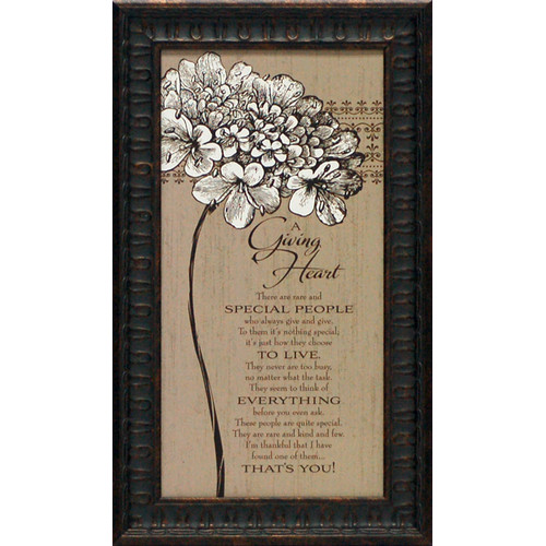Artistic Reflections A Giving Heart Framed Textual Art