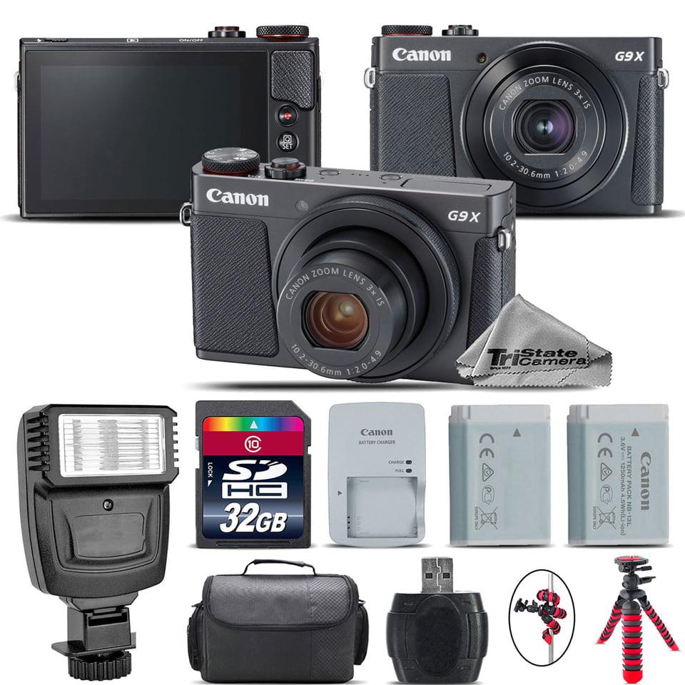 Canon PowerShot G9 X Mark II Digital 20.1MP Camera + EXT BAT + Flash - 32GB Kit
