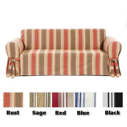 Brushed Twill Stripe Round Arm Sofa Loveseat Chair with Bowtie