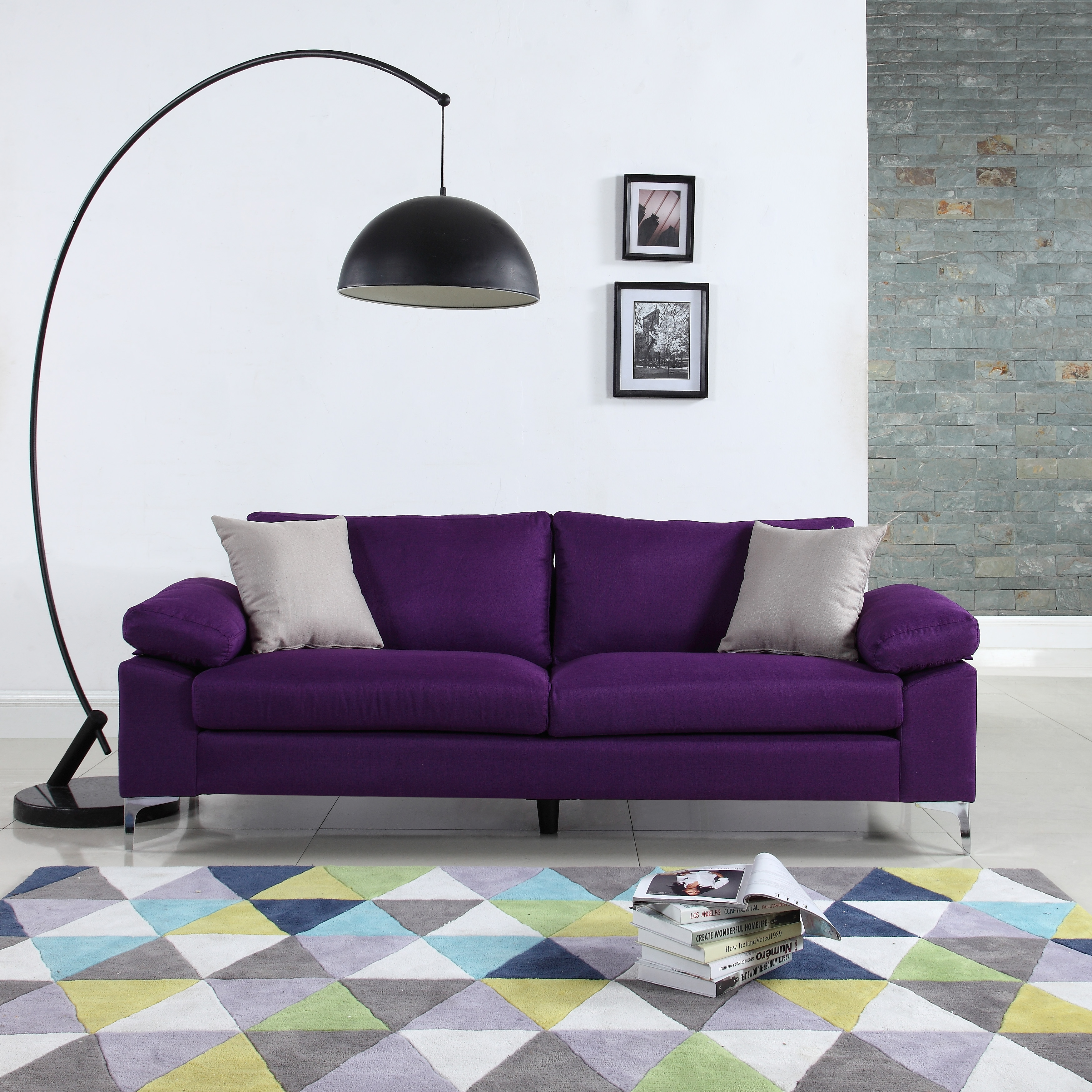 Modern Linen Low Profile Sofa