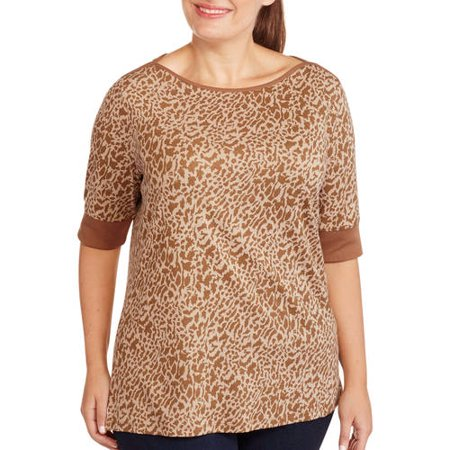 White Stag Women's Plus-Size Printed Boatneck Tee