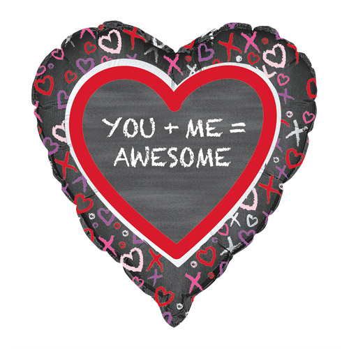 "18"" Foil You + Me Valentine Heart Balloon"