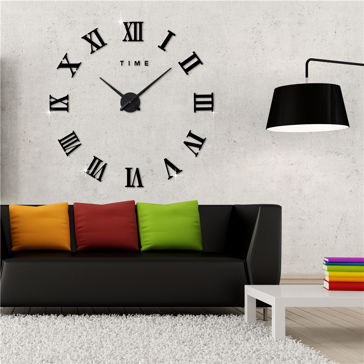 Modern 3D Frameless Large Wall Clock Style DIY Clock Room Home Decorations Model Watch... by