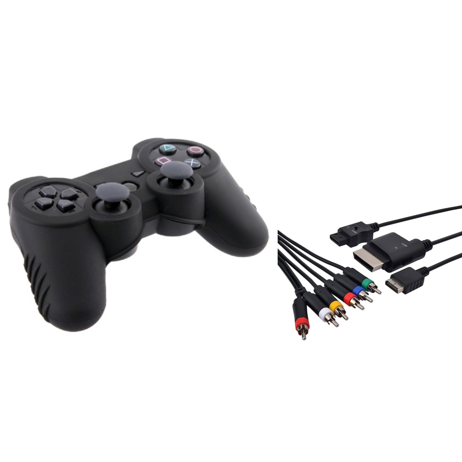Insten 4-IN-1 AV Audio Video COMPONENT HDTV CABLE CORD+CONTROLLER SKIN CASE FOR PS3