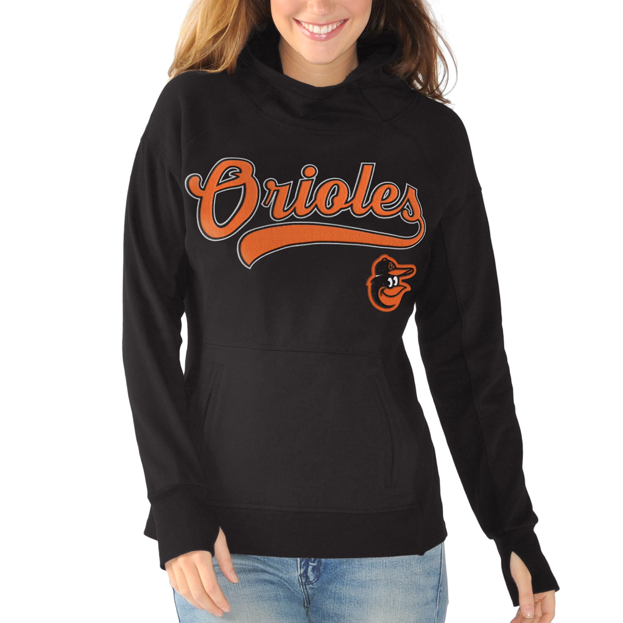 Baltimore Orioles G-III Sports by Carl Banks Women's Around the Horn Pullover Hoodie - Black