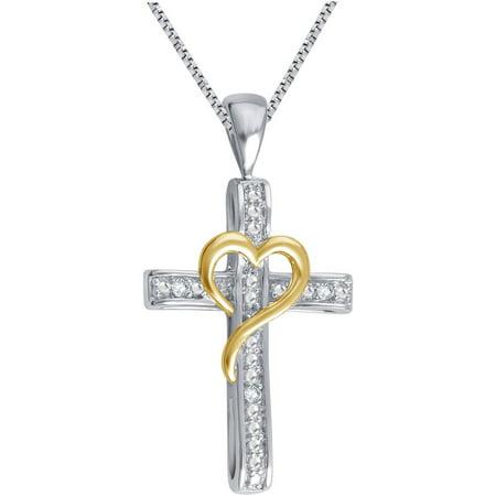 Round Diamond Accent 14kt Gold-Tone Cross Heart Pendant, 18