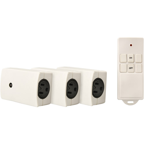 Woods Indoor Wireless Remote Control with 3 Outlets, 3-Pack, White, 13569