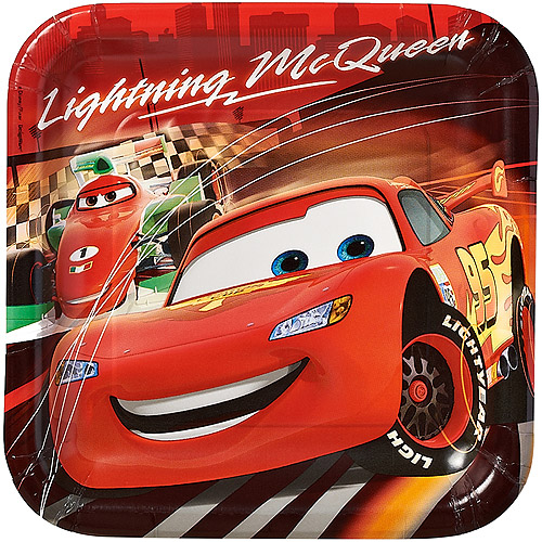 """Cars 9"""" Square Plates, 8 Count, Party Supplies"""