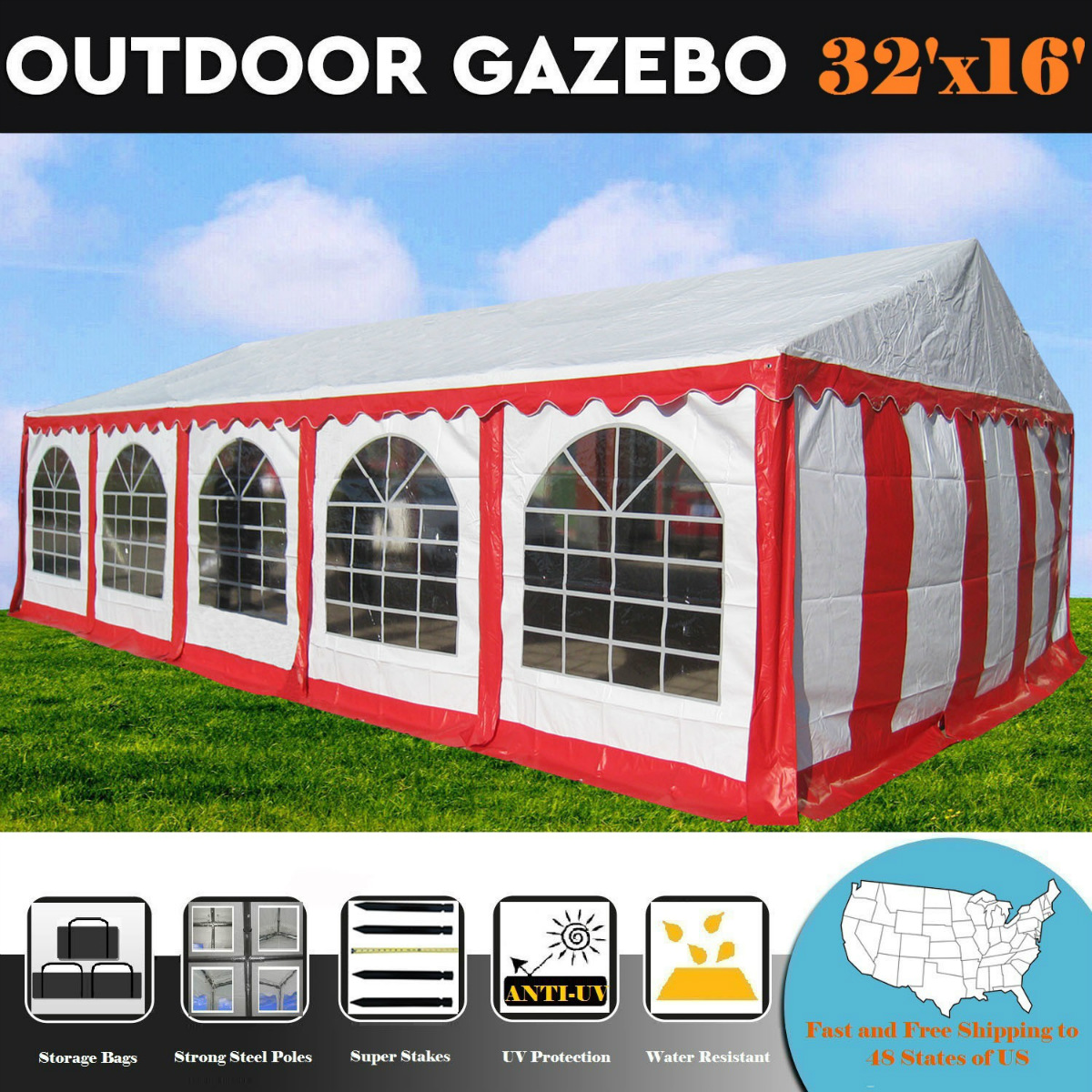 32'x16' PE Red/White Tent - Heavy Duty Wedding Party Tent Canopy Carport -By DELTA Canopies