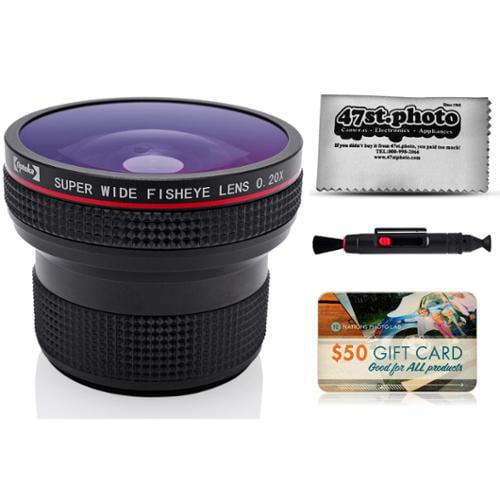 Opteka .20X HD Super AF Fisheye Lens with Microfiber Cloth for Nikon D4s, D4, D3x, Df, D810, D800, D750, D610, D7200, D7100, D7000, D5500, D5300, D5200, D5100, D3300 and D3200 Digital SLR Cameras