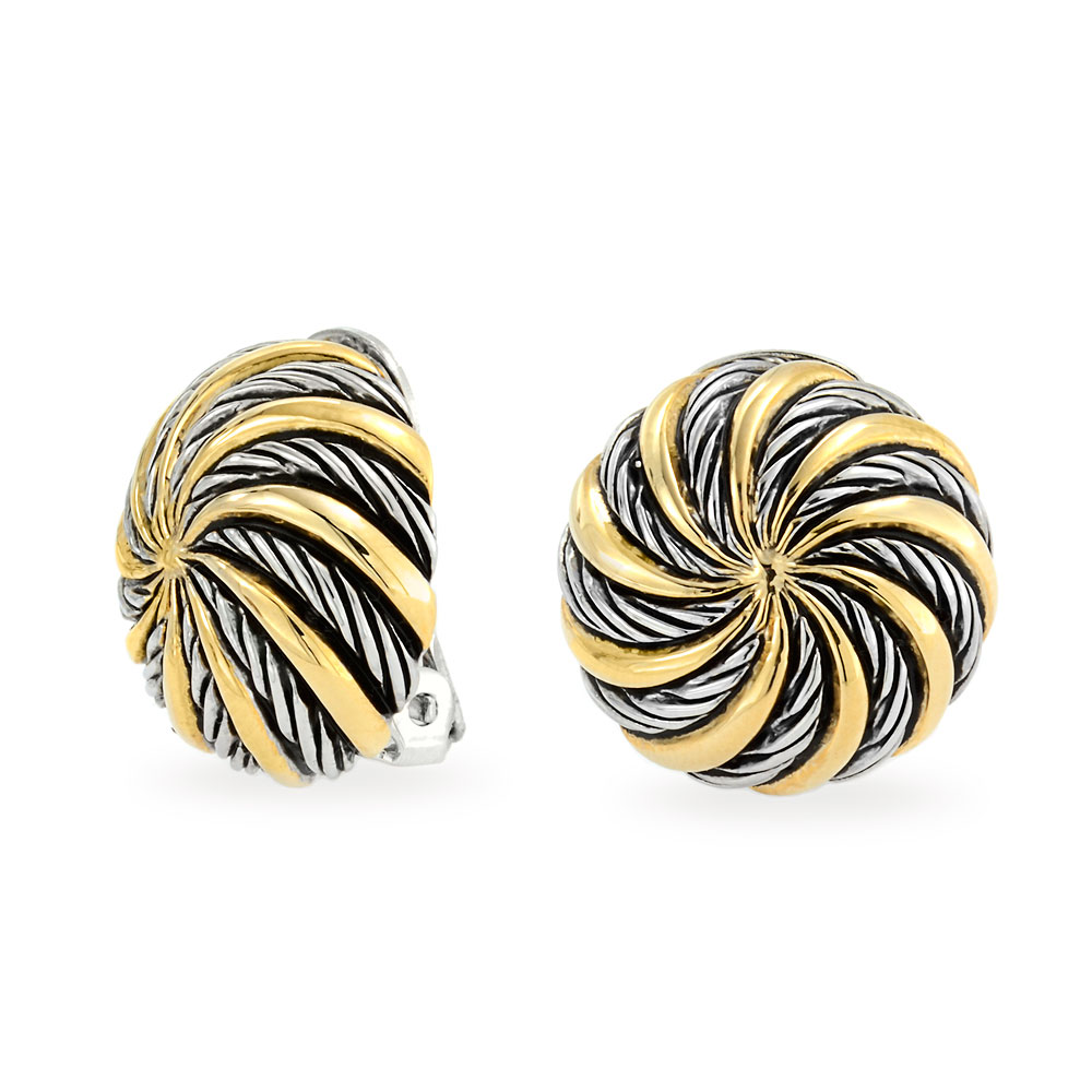 Bling Jewelry Spiral Circle Twisted Cable Clip On Earrings Gold Plated