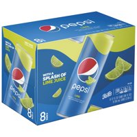 (3 Pack) Pepsi Soda, Lime, 12 Fl Oz, 8 Count