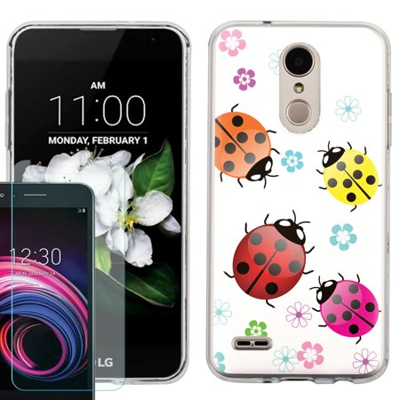 Phone Case for LG Rebel 4 LTE / Risio 3 / Fortune 2 / Zone 4 / Phoenix 4, Slim-Fit TPU Case with Tempered Glass Screen Protector, by OneToughShield ® - Ladybug