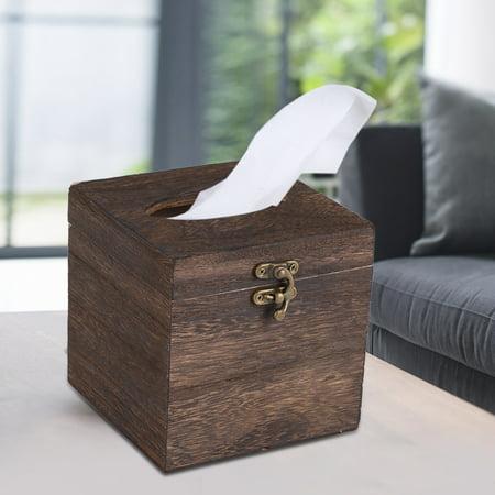 1Pc Useful Wooden Retro Tissue Box Paper Napkin Holder Case Home Office Car Decor ()