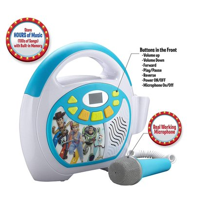 Toy Story 4 Bluetooth Sing Along Portable MP3 Player Real Working Microphone Stores Up To 16 Hours of Music with 1 GB Built In Memory USB Port To Expand Your Content Built In Rechargeable